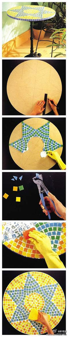 if only i had the materials to do this :O a lot of patience to make it so even and perfect! mosaic tile table DIY