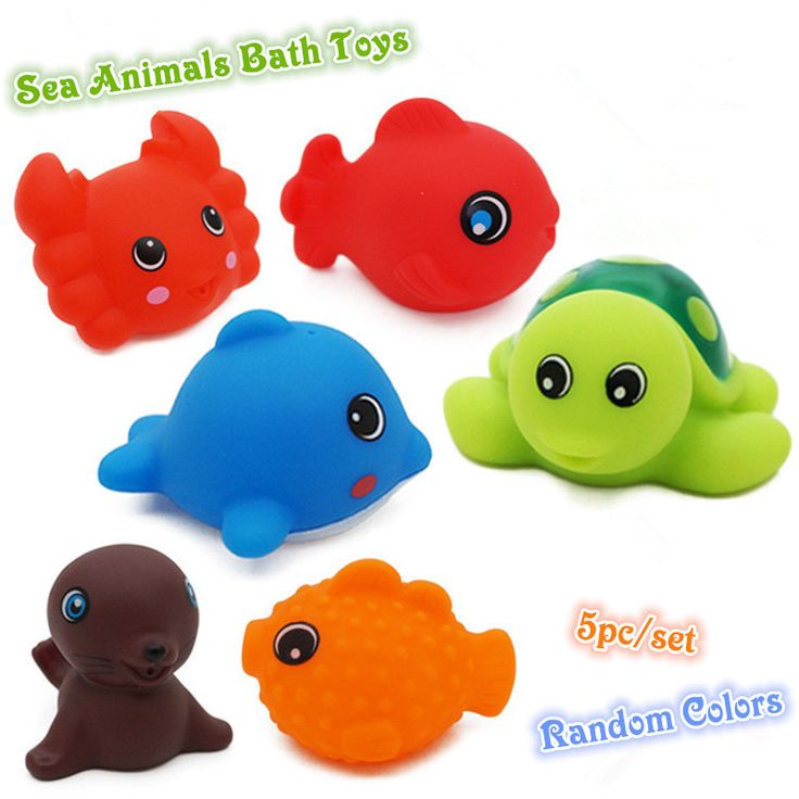 5pcs/lot Bath Toys in the Barthroom Kids Water Toys for Children Soft Rubber Toys for Boys Girls Rubber Duck Sea Animal juguetes Игрушки Для Купания