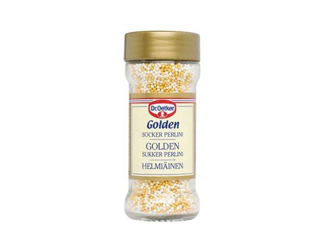 Golden Perlini. Exklusiva guldskimrande småpärlor som ger bakverket en lyxigare prägel. Avänds som garnering på kakor, bakverk, desserter, och konfektyr. Tips: Prova att dekorera dina Kanelbullar med  Golden Perlini istället för pärlsocker. Hembakta Guldbullar är en given succé!