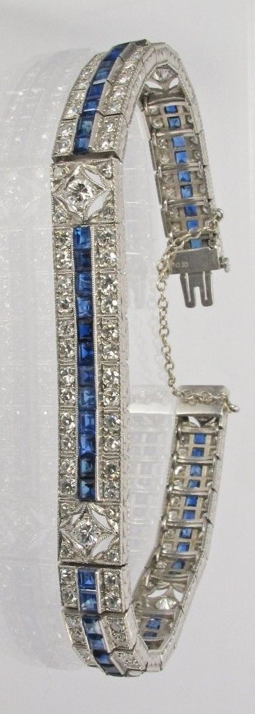 Sapphire and Diamond Double Row Bracelet in 14k White Gold (2×2.4mm)