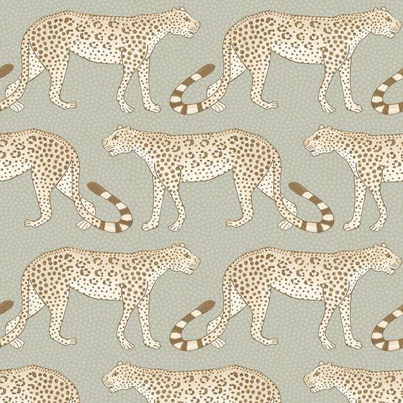 Papier peint Leopard Walk de The Ardmore Collection de Cole and Son.  Ce papier peint sur lesquels se baladent des léopards s'inspire de l'Afrique du Sud, lieu de production des céramiques de l'atelier Ardmore, d'où la collection de papiers peints tient son nom.
