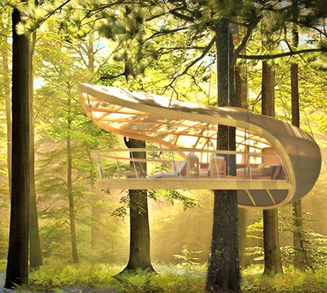 Great Sailboat Inspired Prefab Treehouse Villa Hangs From The Trees