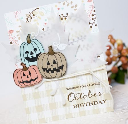 Make It Monday #262: Pumpkin Stamps 3 Ways - October Birthday Card by Ashley Cannon Newell for Papertrey Ink (September 2016)