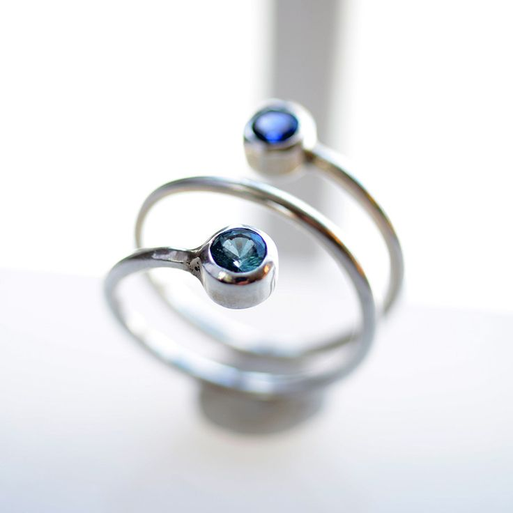 Dual BirthStone Ring with a twist! mom gift. couples gift. his hers. $104 #studiojewel