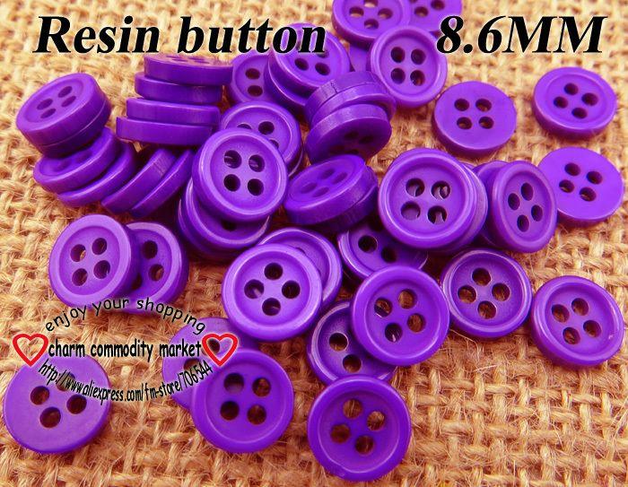 300PCS  8.6MM purple Resin skirt buttons for sewing kid button clothes findings bulk  R-072-6 $2,98