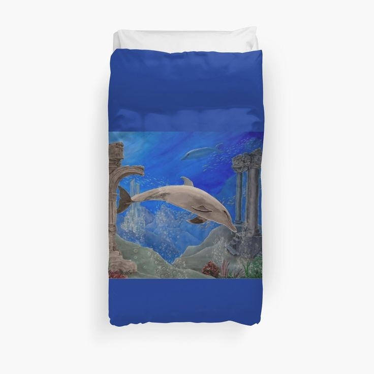 Duvet Cover, bed decor, for sale, home,accessories,bedroom,decor,cool,unique,fancy,artistic,trendy,unusual,awesome,beautiful,modern,fashionable,design,items,products,ideas,blue,dolphin,wild,animal,ocean,scene,deep,sea,wildlife, redbubble
