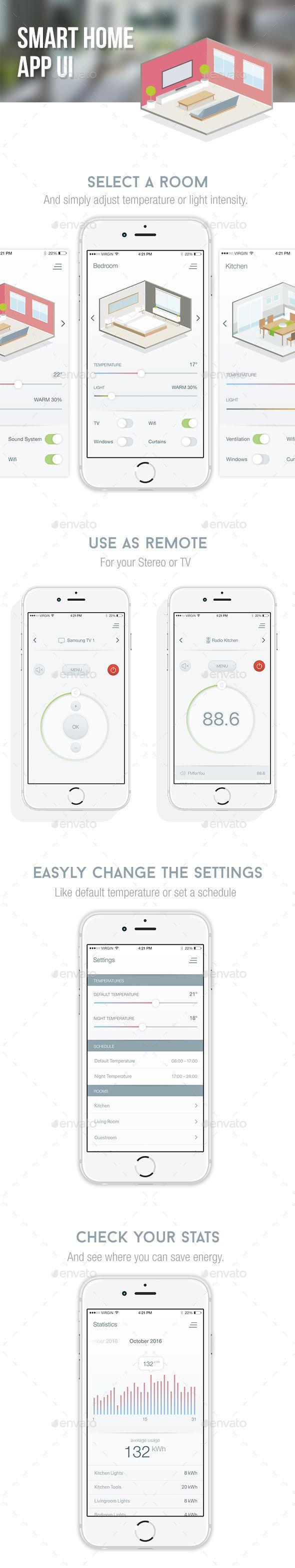Smart Home App UI — Photoshop PSD #ui design #app • Download ➝ https://graphicriver.net/item/smart-home-app-ui/19070756?ref=pxcr