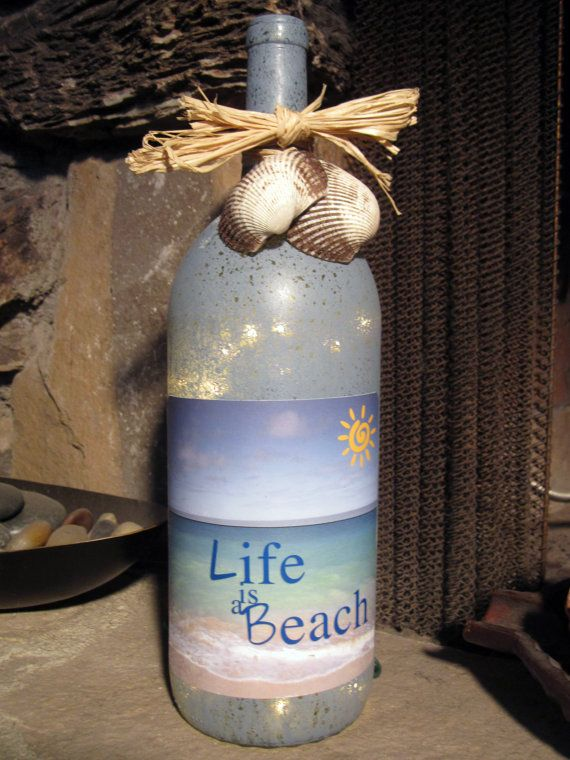 Life Is A Beach Decorative Light Up Wine Bottle With