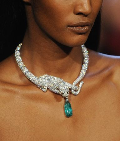 Greenwich Jewelers - Blog, Zac Posen's Spring 2013 collection - crystal-encrusted panther necklace clutching gem.