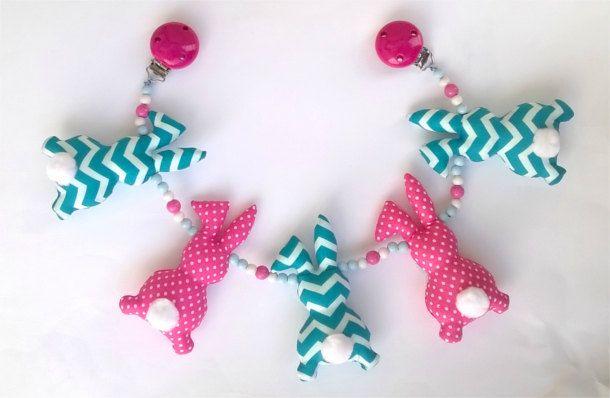 Stroller toy. Pram toy. Pram chain. Stroller chain. Pink & blue toy. Sensory toy. Bunny toy. Bunny decor. Baby girl toy. Infant toy by YayoHandmade on Etsy https://www.etsy.com/listing/264102189/stroller-toy-pram-toy-pram-chain