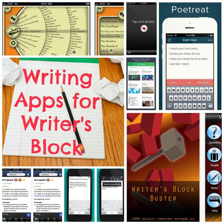 Got Writer's Block? There Are Apps For That.  Pinning it for a later look-see. Writer's block takes in a whole range of challenges, plot and characters are easily solved.  The psych component isn't.