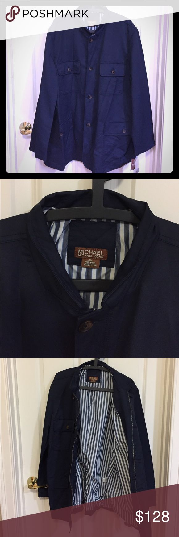 NWT Michael kors men's jacket New with tag condition, perfect light wear spring fall jacket Michael Micahel Kors collection originally $148. Navy XL men's MICHAEL Michael Kors Jackets & Coats Lightweight & Shirt Jackets