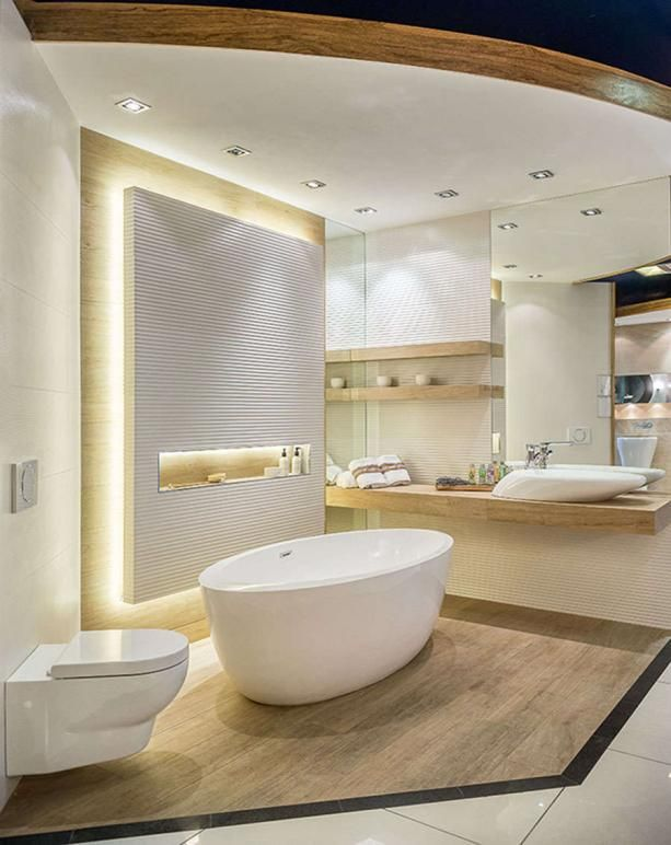 skandynawska łazienka z blatem i stojąca wanną