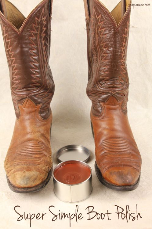 super simple boot polish - just three ingredients and it works for all leather shoes