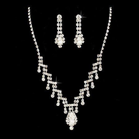 "Bridal Wedding Jewelry Set Necklace Earring Rhinestone Multi Dangle TD Silver Accessoriesforever. $17.00. Style: Multi Dangles, V-Drop, Prong Set. Color: Silver, Clear. Dimensions: Necklace: 14"" Long + 3"" extension (Lobster Claw Closure); Earrings: Approx. 1.3"" Drop x 0.4""W (Post Back Closure). Nickel / Lead Free. Material: Clear Crystal Rhinestones and Glass Stones, Rhodium Plated"