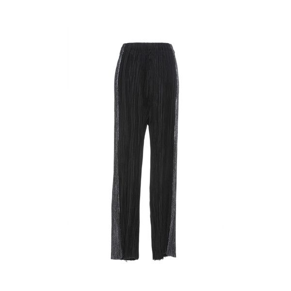 Haider Ackermann     Tuxedo Stripe Plissé Trousers (31,395 CNY) ❤ liked on Polyvore featuring pants, relaxed fit pants, relaxed pants, tuxedo stripe pants and haider ackermann