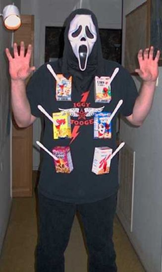 Cereal killer costume - Ranging from the 5 minute costume to some that will take a little more planning, these adult Halloween costumes are bound to get a few laughs at the party. Get inspired by the following Halloween costume ideas and don't settle for  a disappointing and unoriginal costume – why feel like a weeny on Halloweeny? - See more at: http://blog.nextdayflyers.com/22-easy-funny-halloween-costume-ideas-2014
