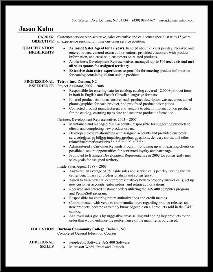 13 best Resume images on Pinterest Resume cv, Resume design and - call center sales representative resume