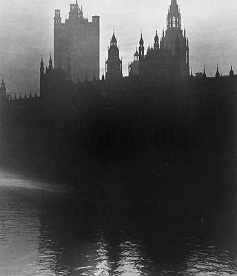 Houses of Parliament by Bill Brandt, 1939. During the war Bill Brandt was commissioned to produce a major photographic inventory of the capital's important buildings. The work was carried out during the blackout without flash.