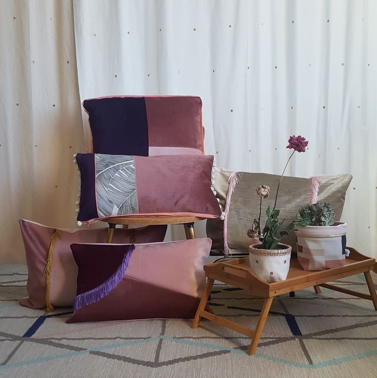 Collection 2018 décoration textile gioia june coussin velours violet rose burlesque esprit bohème chic made