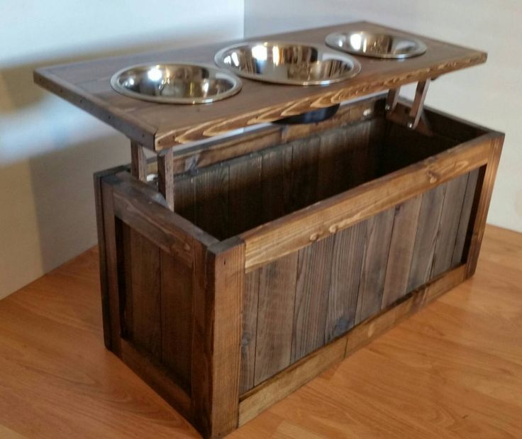 Raised dog feeder with storage, 3 bowl dog feeder, keep food stored beneath bowls!