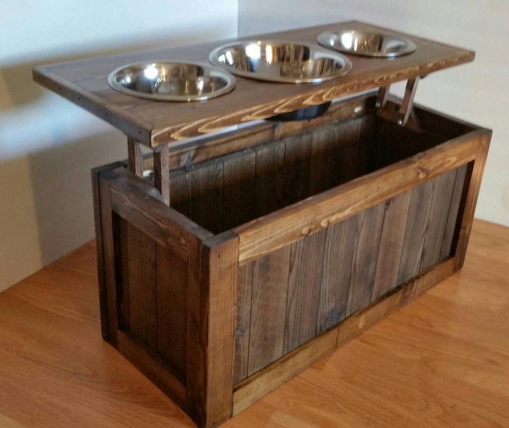 Raised dog feeder with storage, 3 bowl dog feeder, keep food stored beneath bowls!