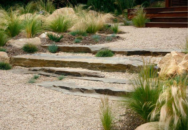 Stone ledge stairs in a gravel pathway: carefully placed irregular slabs look like a natural outcropping, work as stairs.