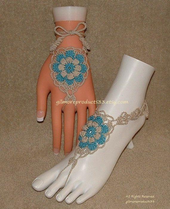 Sandalias Descalzas ganchillo Flor descalzo por gilmoreproducts33