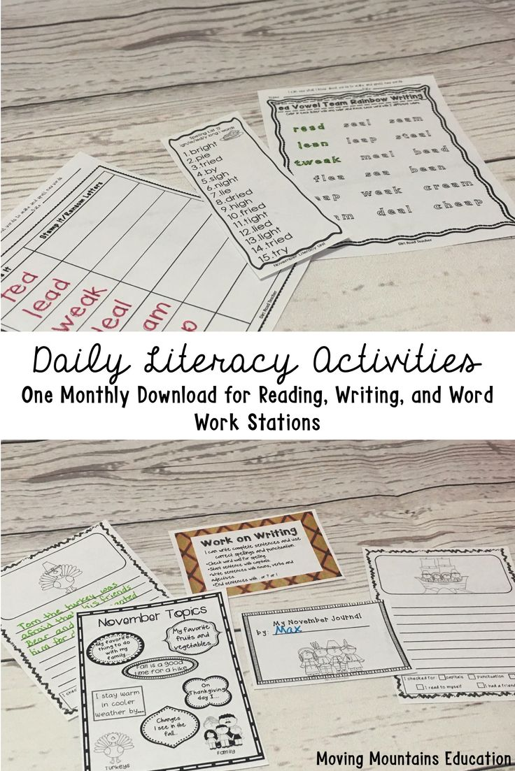 What activities do you incorporate into your daily literacy? pack the core daily literacy activities: word work (spelling and phonics), reading activities (book clubs, read to self, listening station), and writing. My 90 minute reading block is a busy time, full of activities that students enjoy while they practice skills at the same time. #daily5 #literacyblock #2ndgrade #readingcomprehension #2ndgradespelling #writingstations