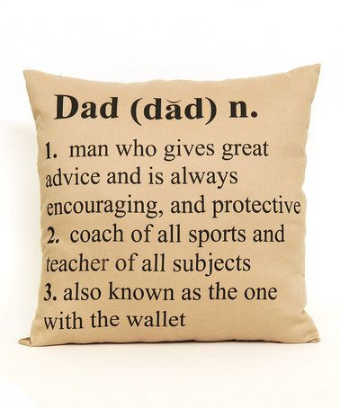 Another great find on #zulily! 'Dad' Definition Double Pocket Throw Pillow #zulilyfinds