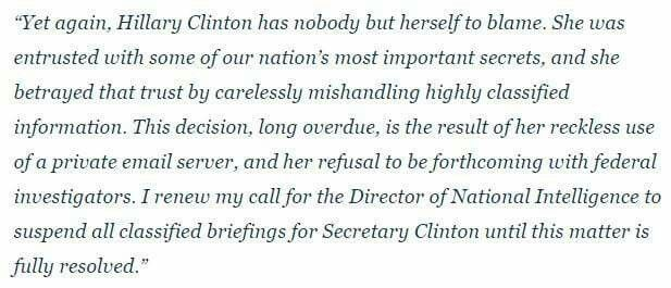 NEW: House Speaker Paul Ryan renews calls for Director of National Intelligence to suspend classified briefings for Hillary Clinton in response to FBI reopening email investigation. abcn.ws/2fnHba3