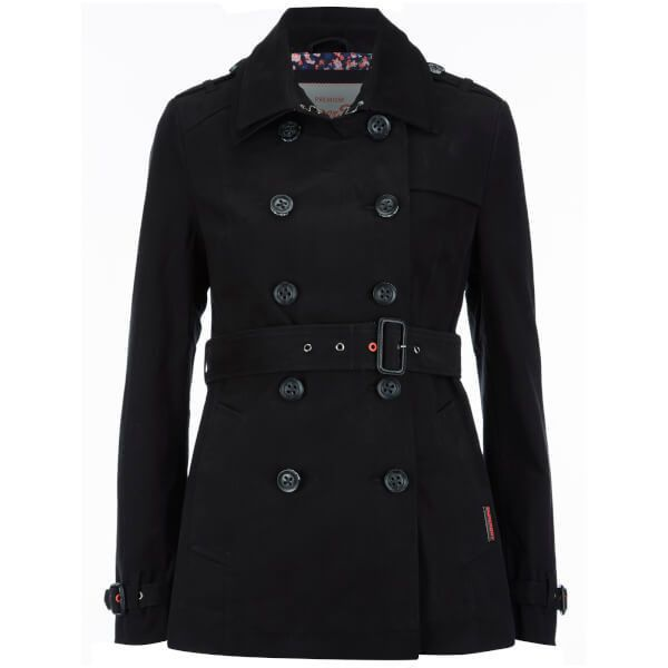 Superdry Women's Belle Trench Coat (850 GTQ) ❤ liked on Polyvore featuring outerwear, coats, black, superdry coat, trench coat, double-breasted trench coat, superdry and double breasted coat