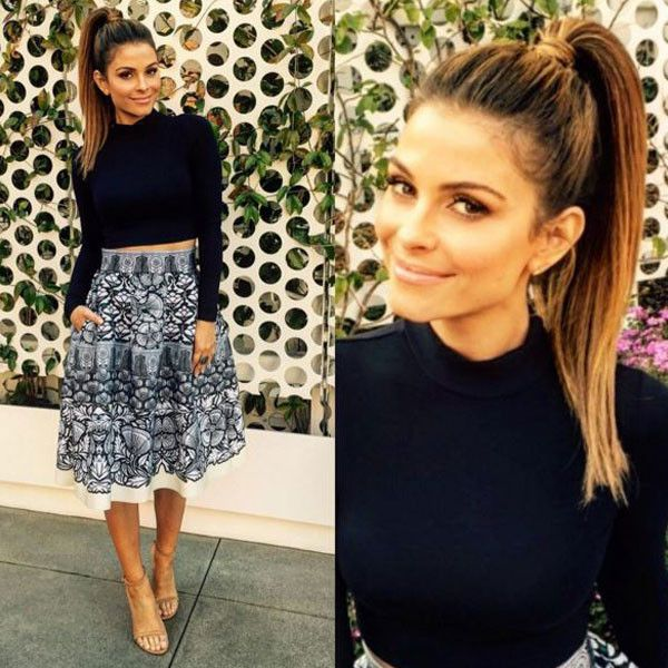 "Maria Menounos from E! News Look of the Day ""happy new year everyone! Here's some new year @enews fashion for ya:Top: @nakedwardrobeSkirt: @majeofficielEarrings: @bonheur_jewelryShoes: @stuartweitzmanStyling: @deniseborrego Make-up: @themariavee Hair: @giannetos @enews is on 7/11 pm + late night"""