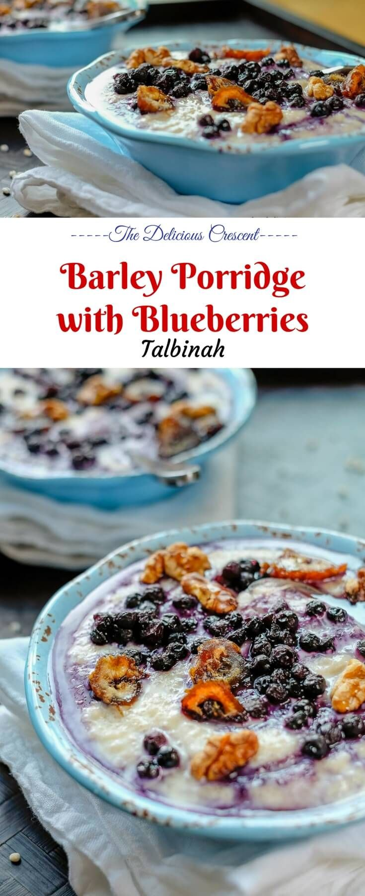 Barley porridge with blueberries is a tasty and wholesome breakfast topped with nutrient rich berries, walnuts, dates and a drizzle of honey. This is sure to give you a healthy and happy start to take on the challenges of the day!! #porridge #barley #breakfast #blueberries #brunch #barleyporridge #walnuts #dates #easyrecipes #vegetarian