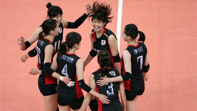 Japan defeat Dominican Republic in women's Volleyball  Saori Kimura of Japan and team mates celebrate the win over the Dominican Republic during women's Volleyball on Day 5 of the London 2012 Olympic Games at Earls Court  /Photo/sport/General/01/31/68/451japan-defeat-dominican-republic-women-volleyball1316845  Related tags