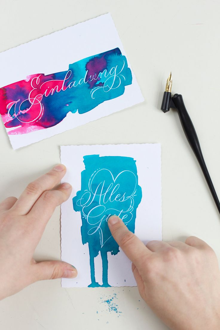 we love handmade | Kalligraphie DIY: Grußkarten mit Rubbelkrepp | http://welovehandmade.at