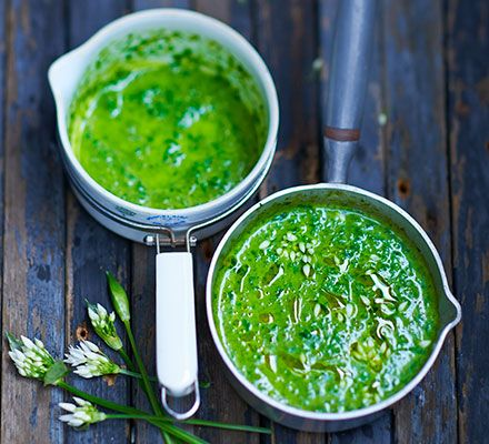 Forage for some fresh spring greens and simmer with finely diced vegetables to make this vibrant, healthy, low-fat green soup