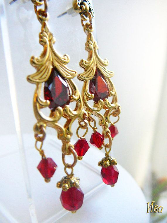 Vintage brass gold plated earrings with by victorianIVAstyle