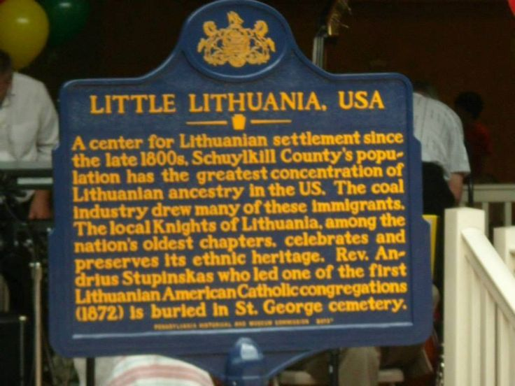 LITHUANIAN HISTORY IN THE USA  (Frackville, Pennsylvania) - An official historical landmark sign saluting one of the oldest Lithuanian settlements in the USA