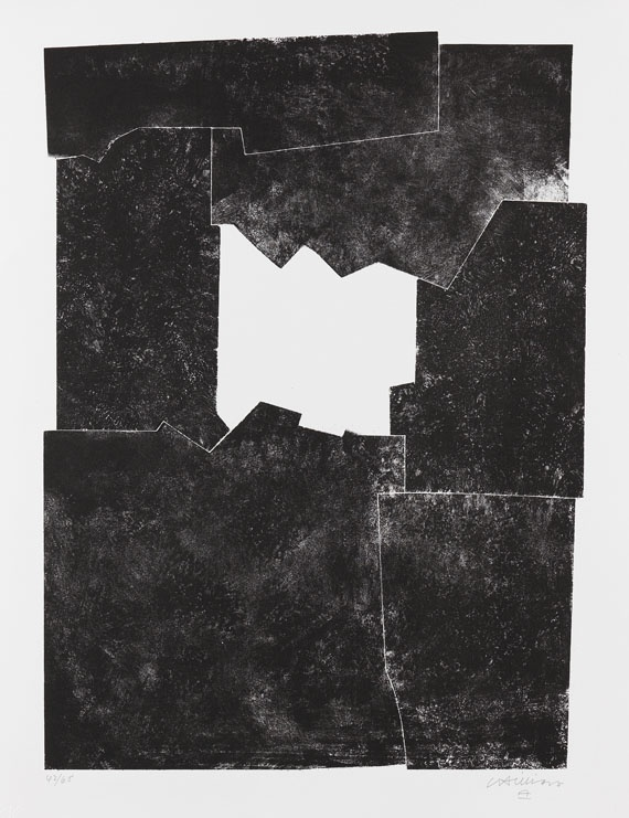 """Eduardo Chillida  1924 San Sebastián - 2002 San Sebastián  Komposition 1968. 1968.  Lithograph.   Van der Koelen 68007. Ketterer Editionsverzeichnis 43. Signed and numbered 42/65. On wove paper by BFK Rives (with watermark). 56,5 x 41,5 cm (22,2 x 16,3 in). Sheet: 65 x 50,5 cm (25,5 x 19,8 in).  Plate 6 from the portfolio """"Europäische Graphik VI"""", released by Edition Galerie Wolfgang Ketterer in cooperation with the publisher Felix H. Man, Munich 1969 (with blindstamp). [SM]."""