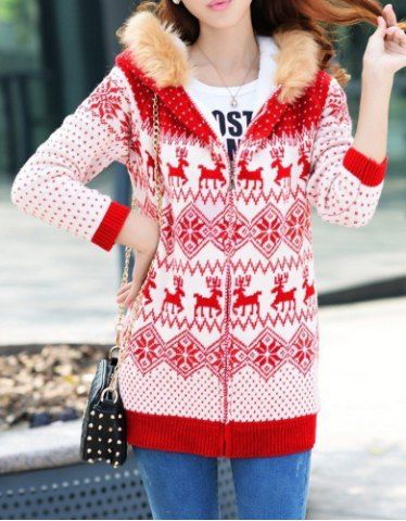 Fashionable Hooded Deer Pattern Thicken Long Sleeve Women's Christmas Cardigan