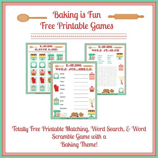 Baking Is Fun Free Printable Games  Cooking Games For Kids, Baking Games, Kids Cooking Activities-8727