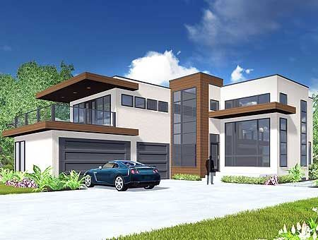 Plan 81647ab Modern Living With Private Master Suite Patio House Elevation Modern House