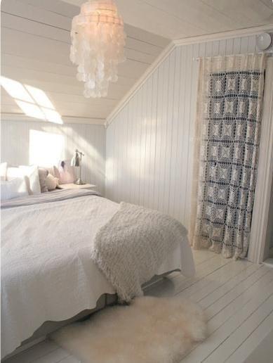Cortina de crochê para quarto clean
