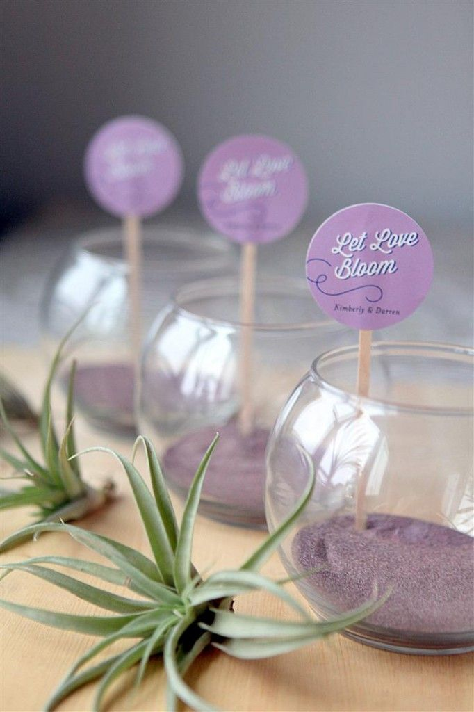 Mini Air Plant Terrarium Wedding favor idea: these little guys are really simple to put together and can also be used as table decor