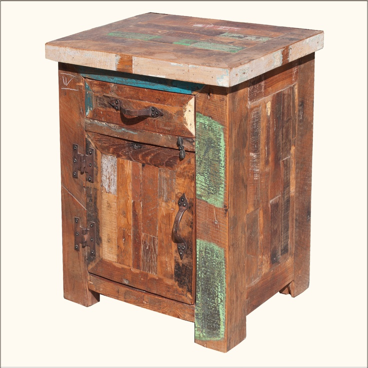 Eco Friendly Rustic Old Wood Nightstand End Table Rustic
