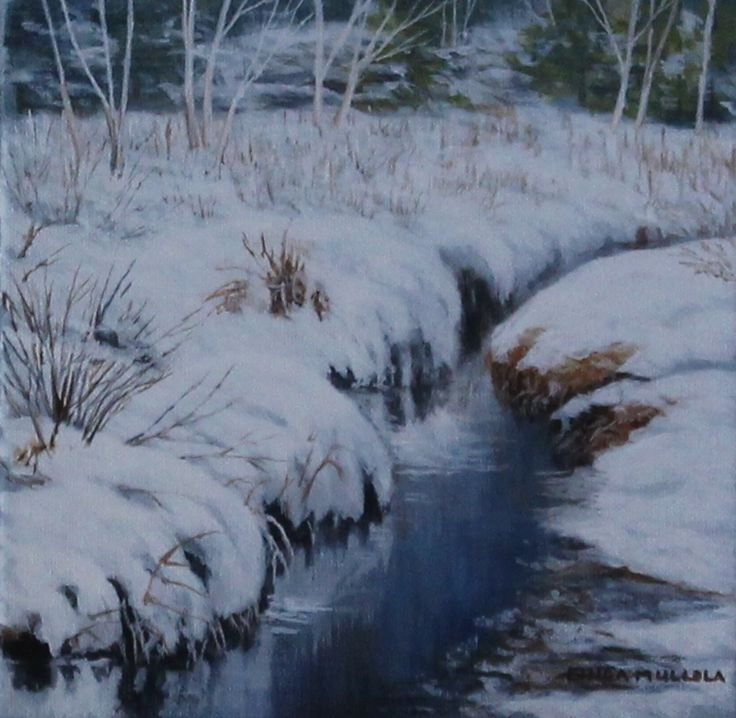 """On the riverbank"" Acrylic 8 x 8 www.lindamullola.com"