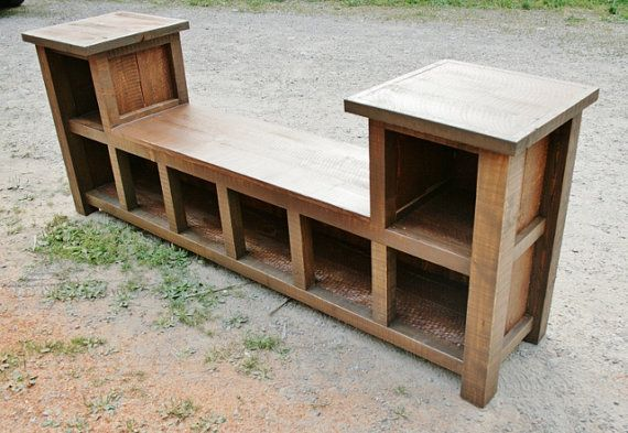 Reclaimed Rustic Entry Bench 8 Cubbies