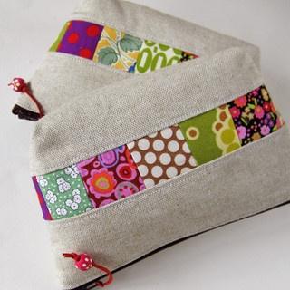 small zipper pouches patchwork linen by oktak_ny, via Flickr