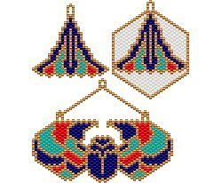 Lotus and Winged Scarab Earrings and Pendant